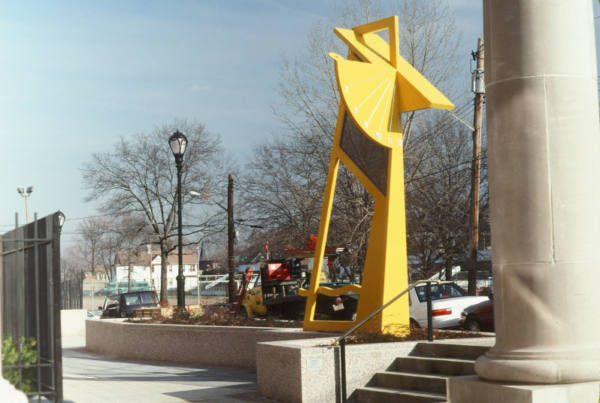 Yellow Sundial – Port Richmond High School, Staten Island, New York Border Sundials